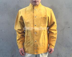 Brown Flame-Resistant Heavy Duty Leather Welding Jacket for Welders