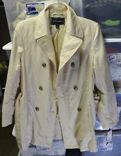 Gallery Trench Coat Womens Sz XS Cream Three Buttons Jacket w/ Belt