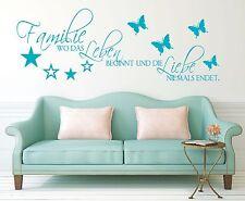 X168 Wandtattoo Spruch Familie wo das Leben beginnt Liebe Wandaufkleber Sticker