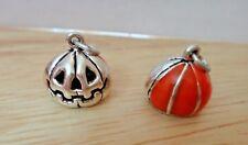1 Sterling Silver Halloween 13x13mm 3D Jack-O-Lantern Orange Enamel Charm!