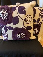"Pier One Embroidered Purple Floral Throw Pillows Set Of 2 - 17"" GREATCondition"