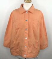 Chicos Women's 3/4 Sleeve, 100% Linen, Button-up Shirt/Jacket -Coral-Size 3 (XL)