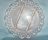 Vintage Relish Plate Depression Glass Anchor Hocking Pink Open Lace Old Colony