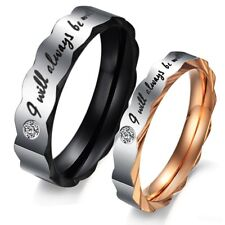 Fashion lace Crystal Stainless Steel Promise Ring Couple Wedding Band Lover gift