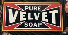 NEW Pure Velvet Soap 3 piece tin metal sign