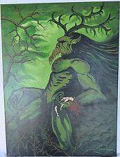 OOAK Painting Canvas Celtic God Mythology Cernunnos Hand-painted Acrylic Signed