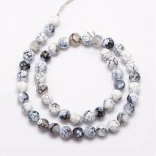 Natural fire gemstone beads (n.60) 20pcs x 8mm , white