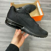 NIKE AIR MAX SEQUENT 2 TRIPLE BLACK TRAINERS SHOES SIZE UK9.5 US10.5 EUR44.5
