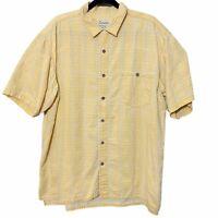 CABELAS Yellow Comfort Casual Cotton Button Down Up Shirt Mens Size XL Xlarge