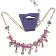 SIGNED PILGRIM FAIRY NECKLACE NEW WITH TAGS PINK SWAROVSKI CRYSTALS RETIRED MINT