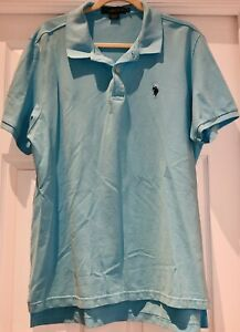US Polo Assn Men's XL Shirt Short Sleeve Polo Light Blue Logo Luxury Feel