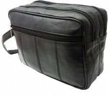 MENS LARGE SOFT GENUINE LEATHER TOILETRY TRAVEL WASH BAG TRAVEL KIT OVERNIGHT