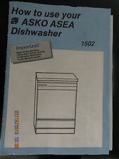 ASKO 1502/1402 DISHWASHER HOW to USE BOOKLET Part # 8053640