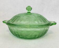 "Vtg Jeannette Depression Green Glass Floral Poinsettia 8"" Covered Bowl w/ Lid"