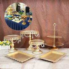 6PCS Set Gold  Cake  Stand Display Dessert Holder Wedding Crystal Party Golden
