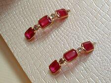 Exclusive Rubin & Diamant Halb Creolen 14 Kt. Gold - 585 - Ohrringe Smaragd Cut
