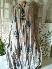 Damenkleid Italy  Erahsia Ornament Taupe´ Netz Strandkleid Free 46 48 50 Viscose