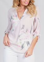Spicy Sugar Floral Pink Grey White Johnny Collar Blouse Top Size 8 10 12 14 16