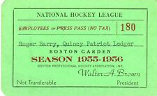 1955-56 Boston Bruins Season Ticket Pass Play-Offs Montreal Canadians/Beliveau
