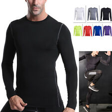 Men Fitness LONG Sleeve T-Shirt Dry Top Sport Gym Compression Athletic Clothes