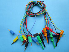 100  Gold Plated 2mm Banana Plug to Small Test Hook Clip Lead Cable 5 Color 50cm