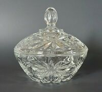 Prescut Clear Candy Dish with Lid Anchor Hocking Vintage Glassware Star and Fan