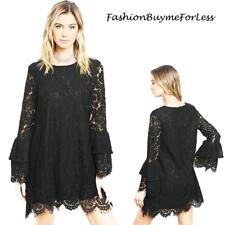 Haute Gothic Steampunk VTG Victorian Lace Bell Sleeve Cocktail Black Dress S M L