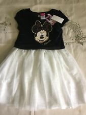 Disney Girls Sparkly Minnie Mouse Christmas Dress NWT Size 6 White and Black
