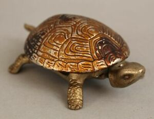Antique German Painted Nickel on Cast Iron Mechanical Turtle Hotel Desk Bell, NR