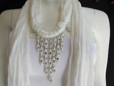 Women White Soft-scarf-long-neck-tie-triangle-big-rhinestones-pendant Charm