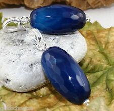 pompöser Achat Anhänger mit Clip – 925 Silber - blau 27x15 facettierte Olive