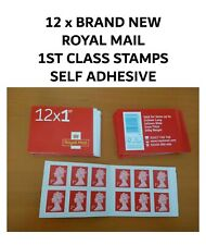 12 x BRAND NEW ROYAL MAIL 1ST CLASS STAMPS SELF ADHESIVE
