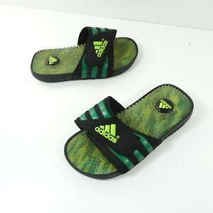 Adidas Youth Black Green Slides Size 2