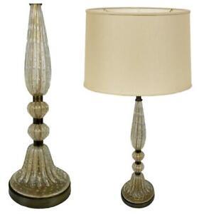 Barovier & Toso Italian Mid Century Modern Murano Glass Bubble Clear Gold Lamp