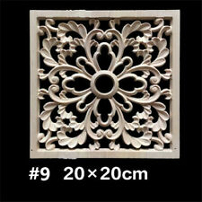 Unpainted Wood Carved Onlay Applique Square Cabinets Door Furniture Home Decor
