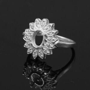 Silver 6x8 mm Oval Engagement Semi Mount Ring Setting CZ Stone Setting Ring
