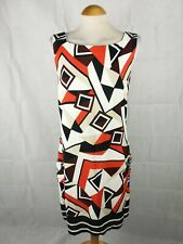 Ladies Dress Size 14 WALLIS Red White Shift Smart Office Work Day Party