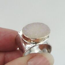 Hadar Designers Handmade 9k yellow Gold 925 Silver Druzi Ring any size (I r140)