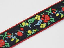 black multi flower with red edging vintage jacquard woven ribbon 20mm R019
