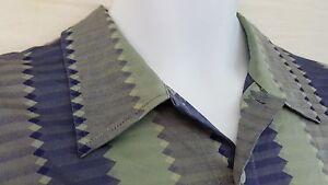 Jhane Barnes Mens Shirt Silk Size Large Greenish Gray and Purple Geometric SS