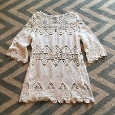 New Anthropologie White Lace Crochet Cut Out Bohemian Gypsy Tunic Blouse  Small