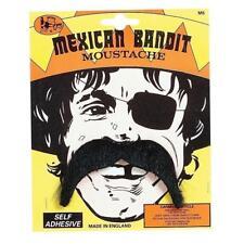 ** MEXICAN BANDIT MOUSTACHE SELF ADHESIVE ADULT FANCY DRESS NEW ** MENS