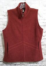 Ibex Merino Wool Vest Full Zip Pockets Rust Red Medium