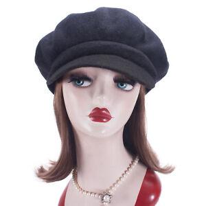 Solid Womens 100% Wool Newsboy Cabbie Cap Crochet Slouchy Baggy Visor Hat T414