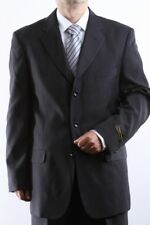 MENS SINGLE BREASTED 3 BUTTON BLACK DRESS SUIT SIZE 40L, PL-60213-BLK
