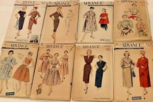 Lot of 8 50s - 60s Halter Wiggle Arkin Dress Duster Coat VTG Advance Patterns
