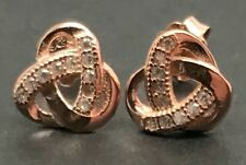 Knot stud earrings, cubic zirconia, rose gold on solid Sterling Silver, new. 8mm