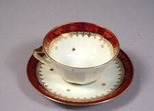 Limoges Fresh from France Coffee Tea Cup Saucer set Red Gold Stars