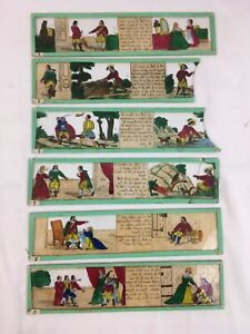 Set 6 Antique French Hand Painted Magic Lantern Slides King & Queen Rhyme + Box