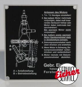 Schild Betriebsanleitung - Anlassen des Motor